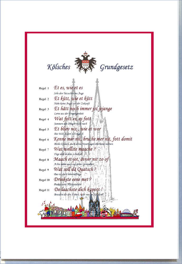Kölner Grundgesetz Druck 30 x 40 cm mit Passepartout Rahmen ...